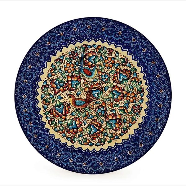 Persian Enamel Decorative Plate 16cm Made Of Copper With Iconic Persian Nightingale And Floral Pattern