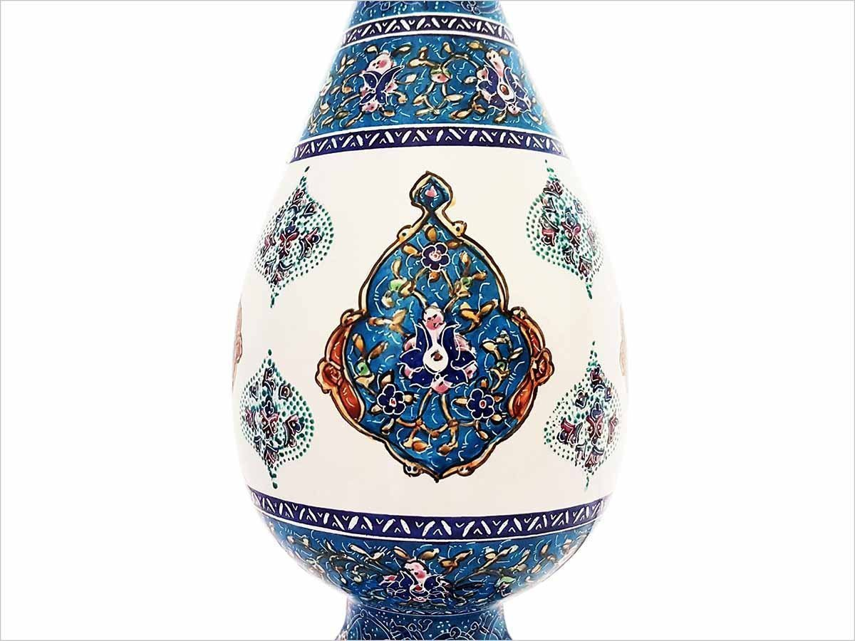 Persian Enamel (Minakari) Decorative Table Vase Is Made Of Copper And Has 25cm Height With Iconic Floral Pattern Called 'Toranj' Meaning Bergamot