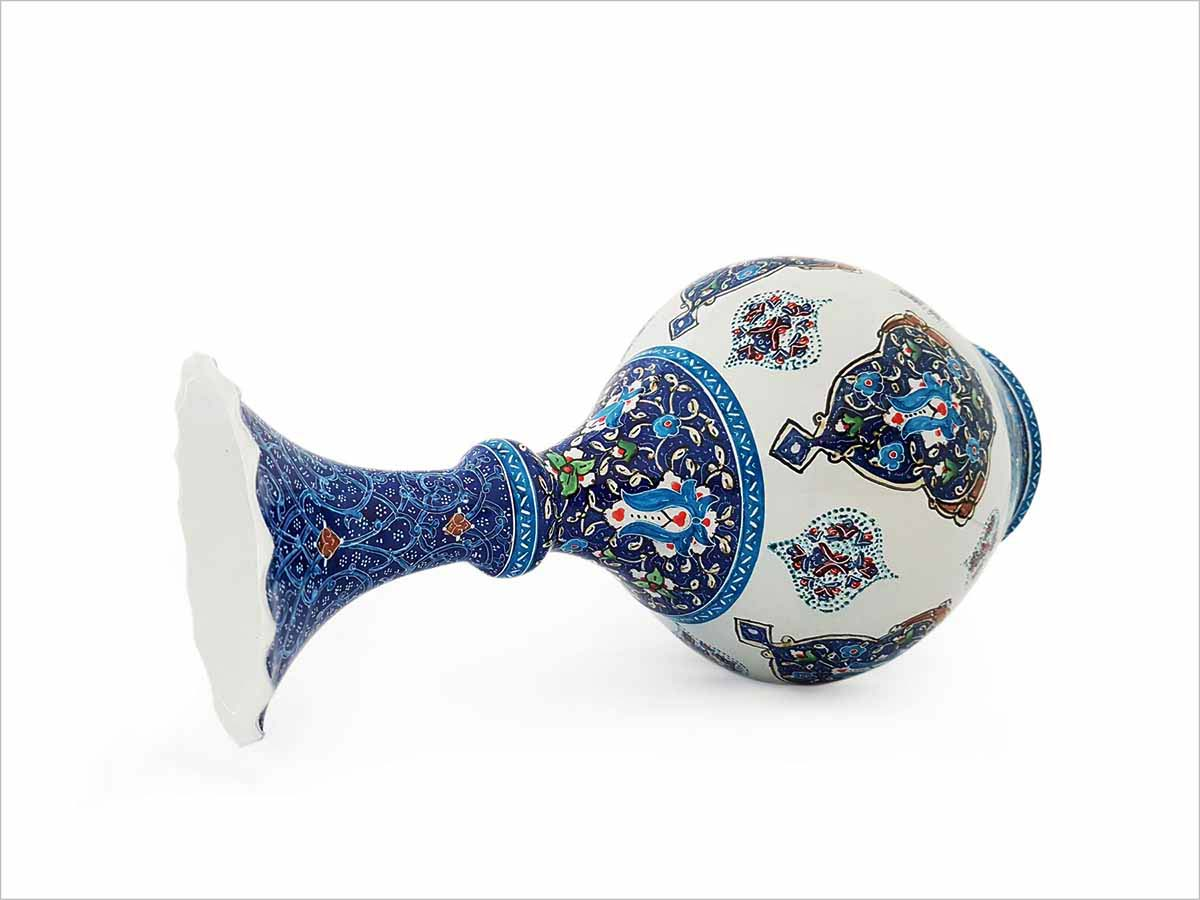 Persian Enamel (Minakari) Decorative Table Vase Is Made Of Copper And Has 22cm Height With Iconic Floral Pattern Called 'Toranj' Meaning Bergamot