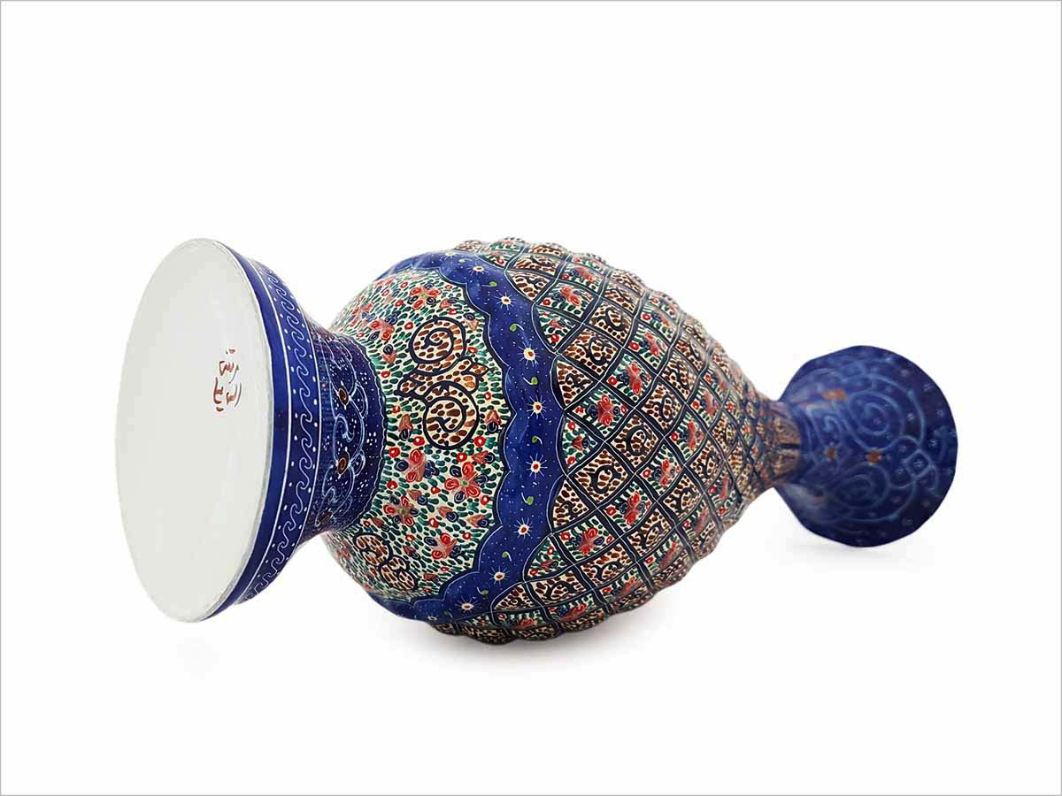 Persian Enamel (Minakari) Decorative Table Vase Is Made Of Copper And Has 25cm Height. The Rich And Embossed Texture Of The Vases Are Adorned With Iconic Persian Floral And Foliage Motifs.