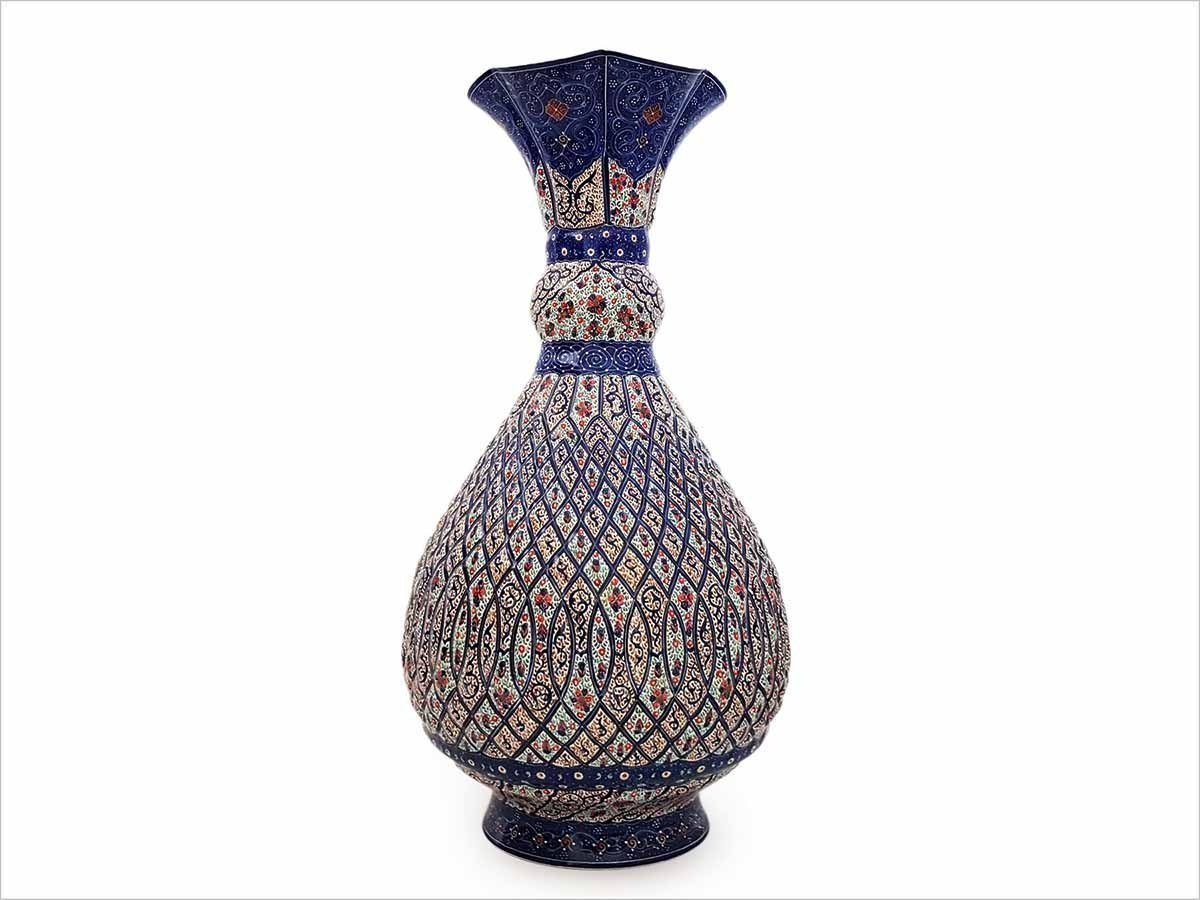 Persian Enamel (Minakari) Decorative Table Vase Is Made Of Copper And Has 30cm Height. The Rich And Embossed Texture Of The Vase Is Decorated With Persian Floral Pattern
