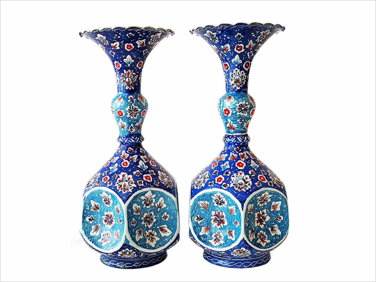 Persian Enamel (Minakari) Decorative Table Vase Is Made Of Copper And Has 16cm Height. The Rich And Embossed Texture Of The Vases Are Adorned With Iconic Persian Floral And Foliage Motifs.