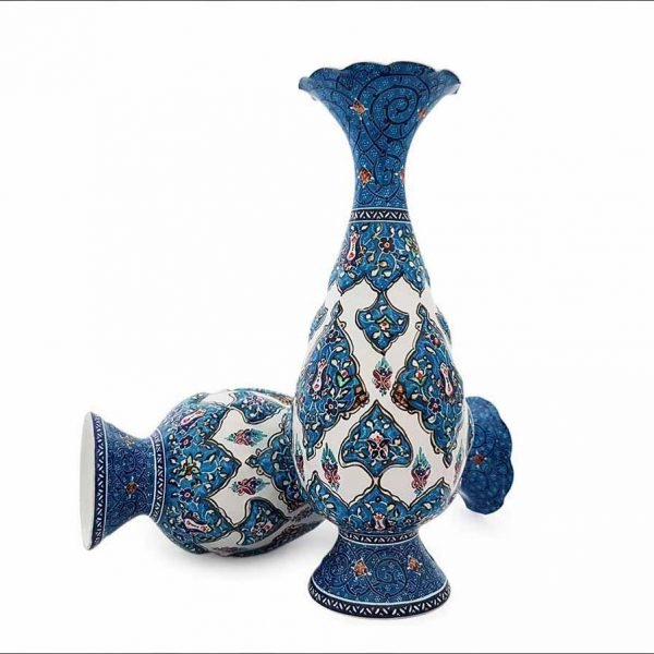 Persian Enamel (Minakari) Decorative Table Vase Is Made Of Copper And Has 20cm Height With Iconic Floral Pattern Called 'Toranj' Meaning Bergamot