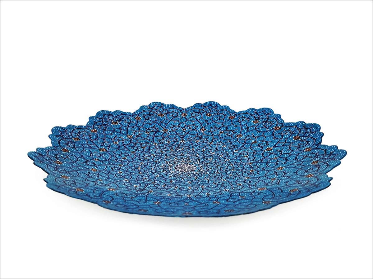 Persian Enamel Decorative Plate Made Of Copper With 25cm Width And Iconic Hand-Painted Persian Pattern