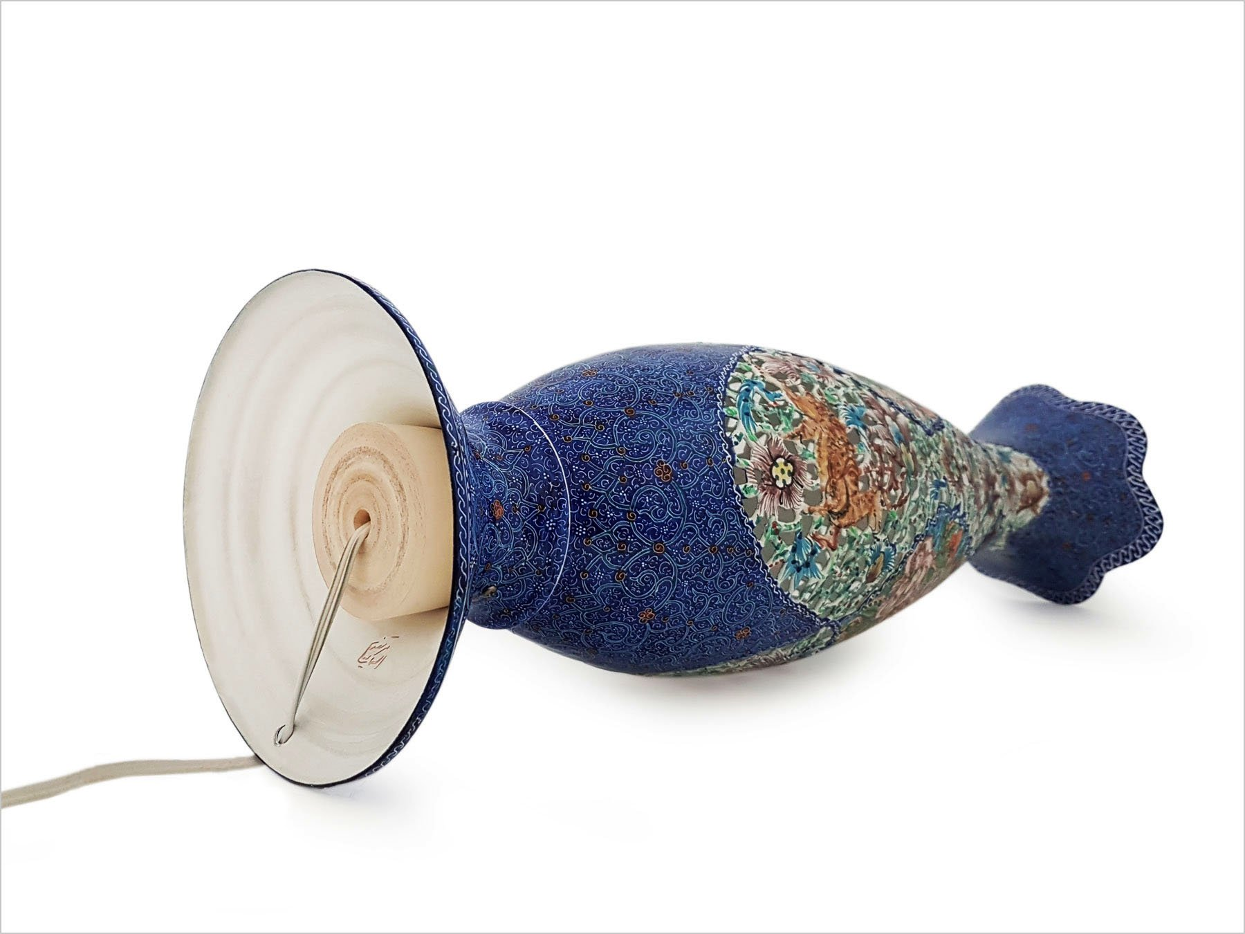 Persian Enameled Table Lamp With 36cm Height & 14cm Width