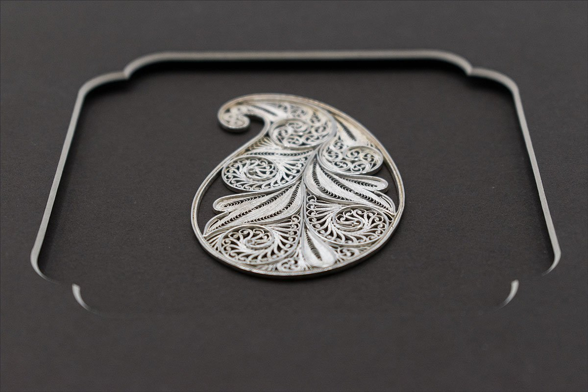 Persian Filigree Paisley Pattern Has 15g Weight And Is Made Of Pure Silver. It Can Be Use On Wall Or Stand On The Console.