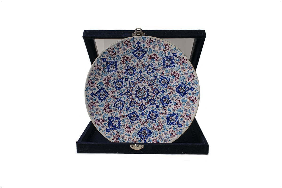 Persian Enamel Decorative Plate 30cm Made Of Copper Has Hand-Printed Rhythmic Stylised Floral Motifs