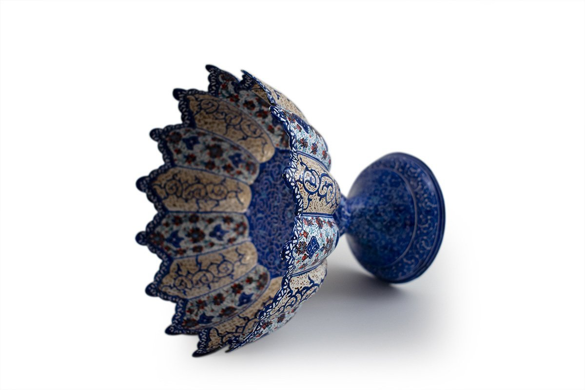 Persian Enamel (Minakari) Decorative Stem Bowl Is Made Of Copper, 18cm Height And It's In Dark Azure Colour. The Artwork Is Decorative With Iconic Persian Floral Pattern