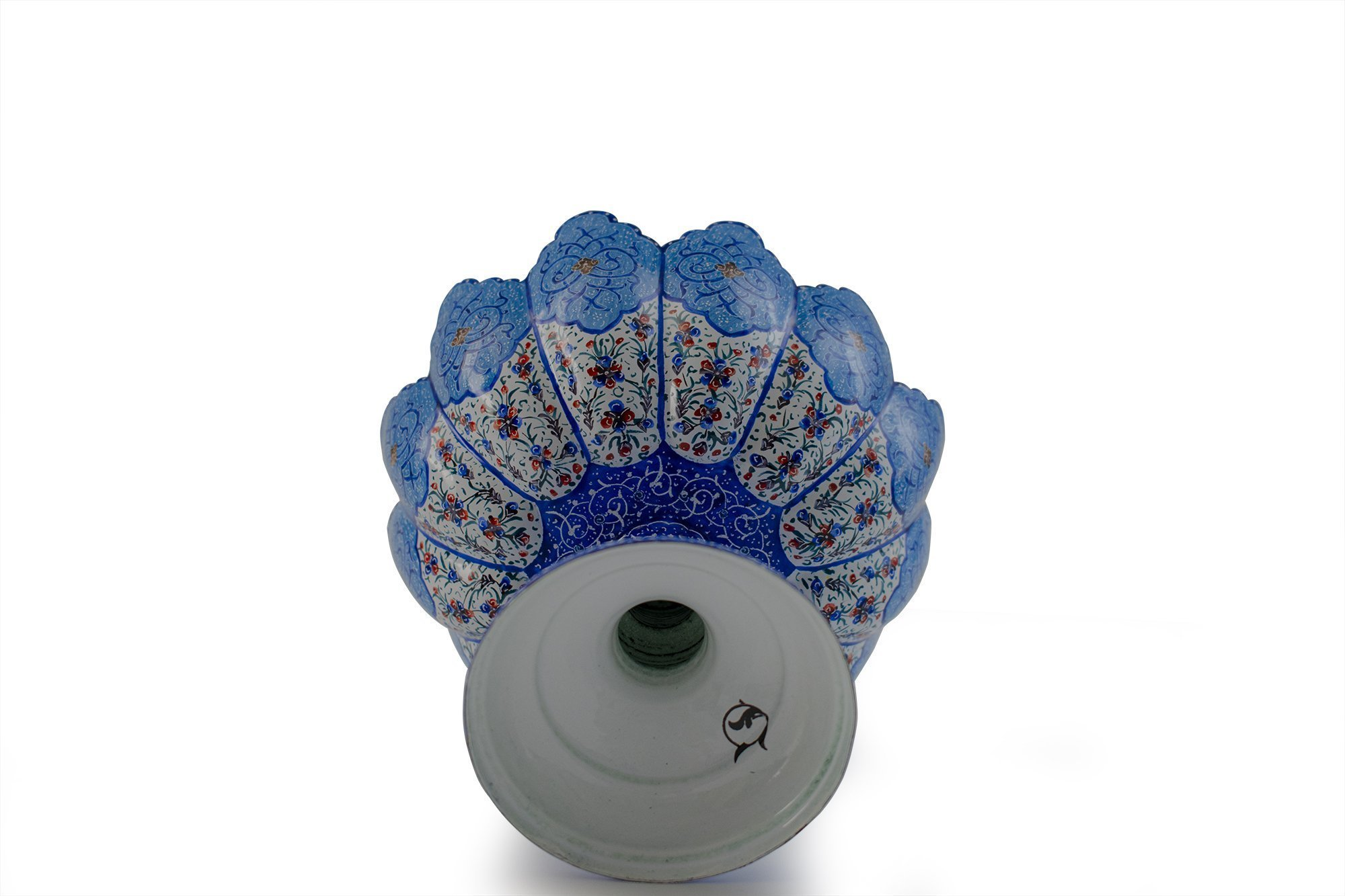 Persian Enamel (Minakari) Decorative Stem Bowl Is Made Of Copper, 14cm Height And It's In Bright Azure Colour. The Artwork Is Decorative With Iconic Persian Floral Pattern