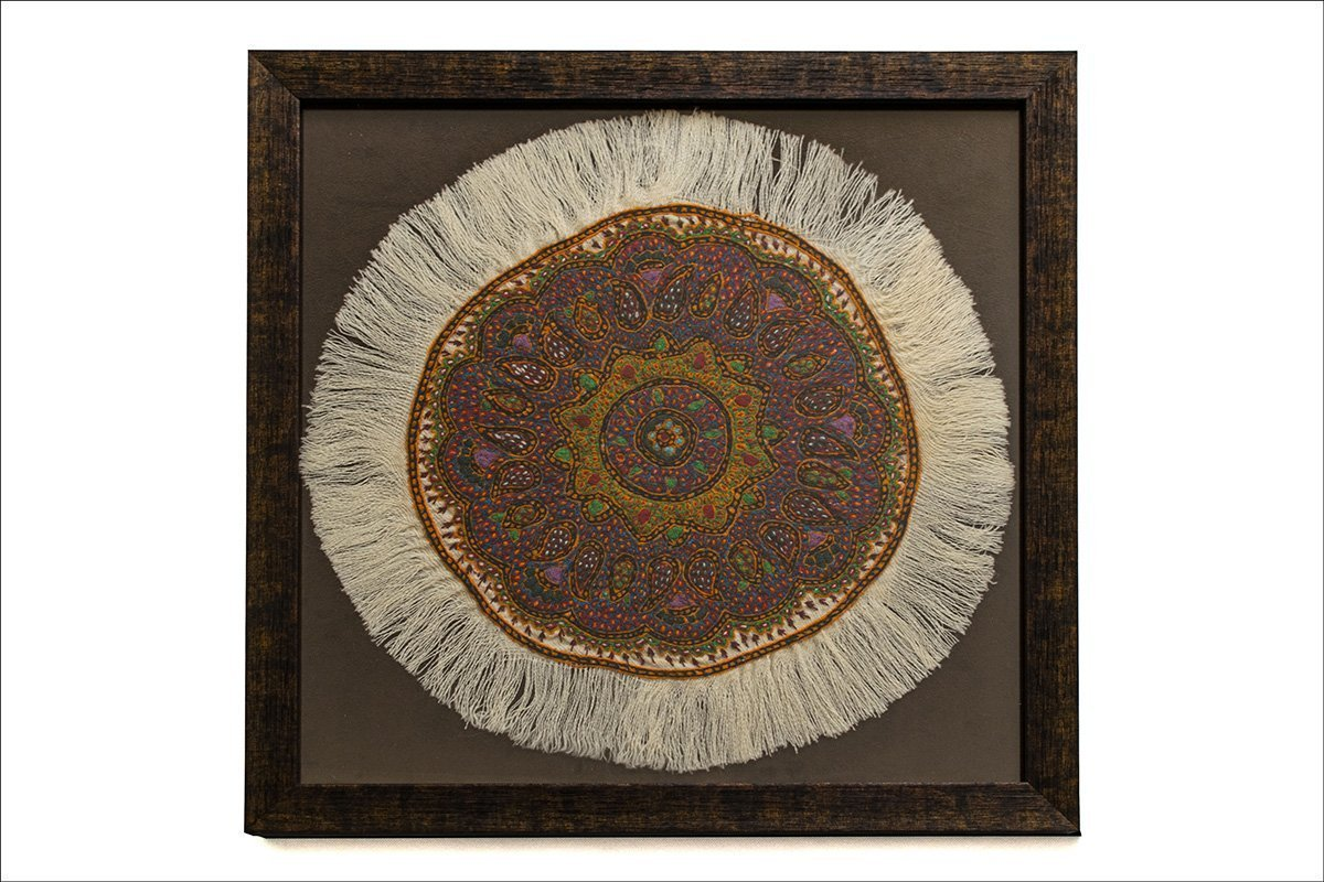 Persian Embroidery Tapestry Pateh With Wooden Frame. The Diameter Of The Circular Tapestry Is 33cm And The Pattern Features Iconic Persian Paisley. The Tapestry Is Made Of Wool