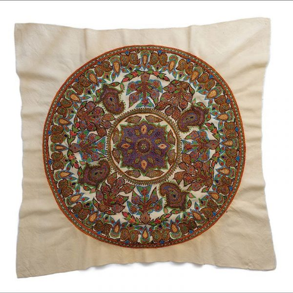 Persian Embroidery Tapestry Pateh With Wooden Frame. The Diameter Of The Circular Tapestry Is 81cm And The Pattern Features Iconic Persian Paisley. The Tapestry Is Made Of Wool