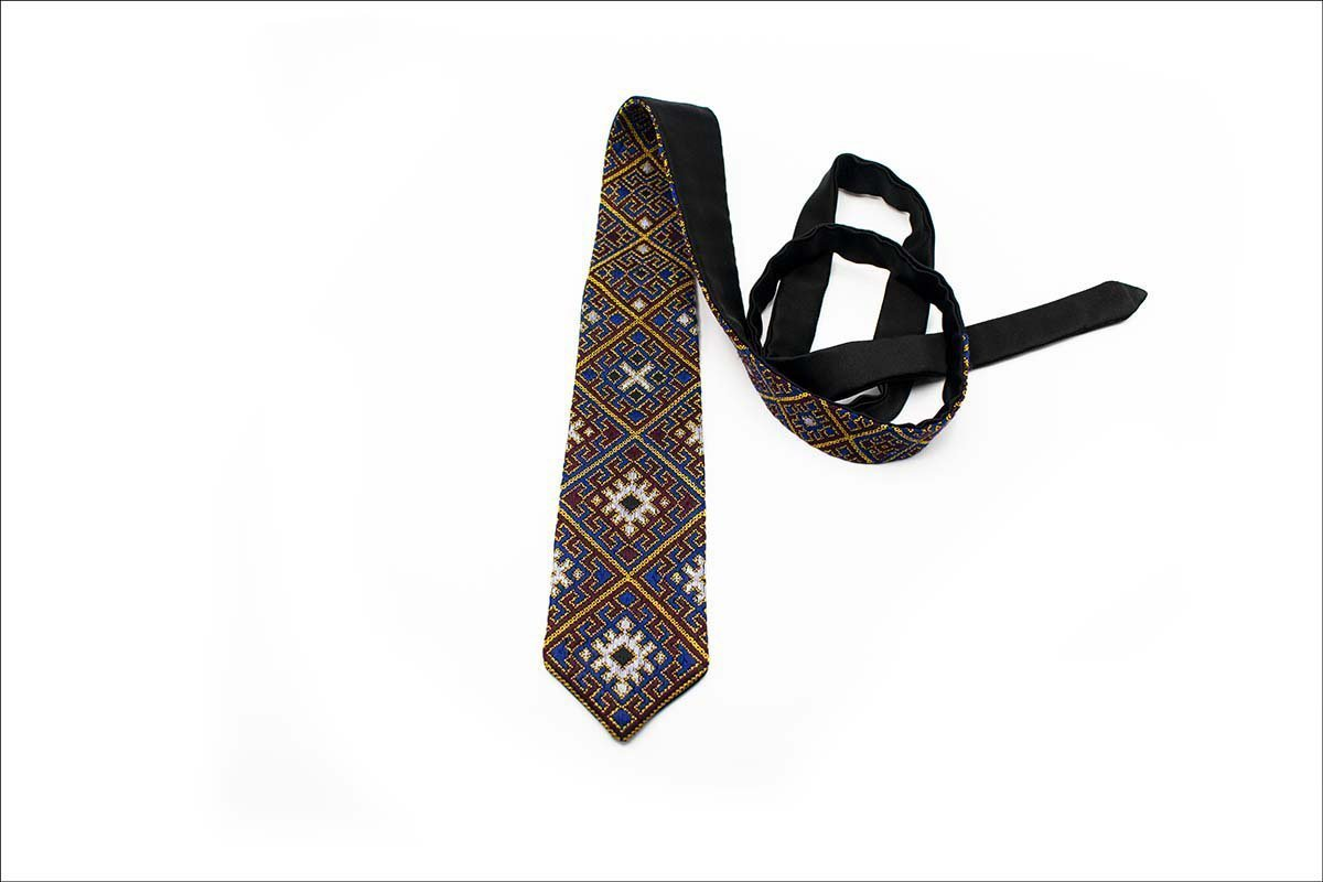 Persian Embroidery Tie Geometric Pattern Is Completely Made By Hand And Consists Of Five Different Colours