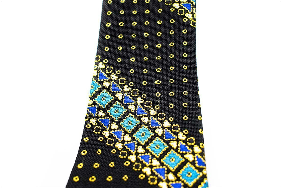 Persian Hand-Embroidered Tie Geometric Square Pattern. The Combination Of Azure & Gold Colours In Black Background Is Dazzling. .