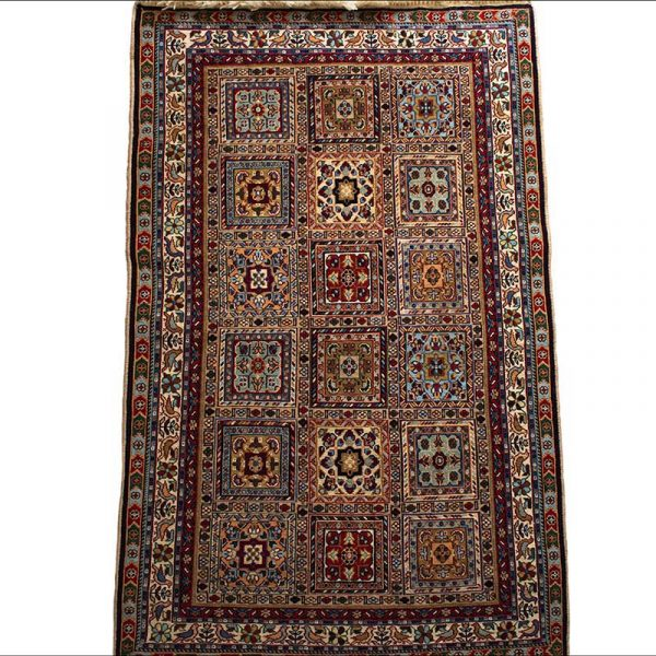 Persian Rug Completely Made By Hand. Size 130cm × 80cm. Geometric Square Pattern. The Pattern Consists Of Twelve Squares In Which Geometric Shapes, Stylised Flowers And Birds Are Depicted.