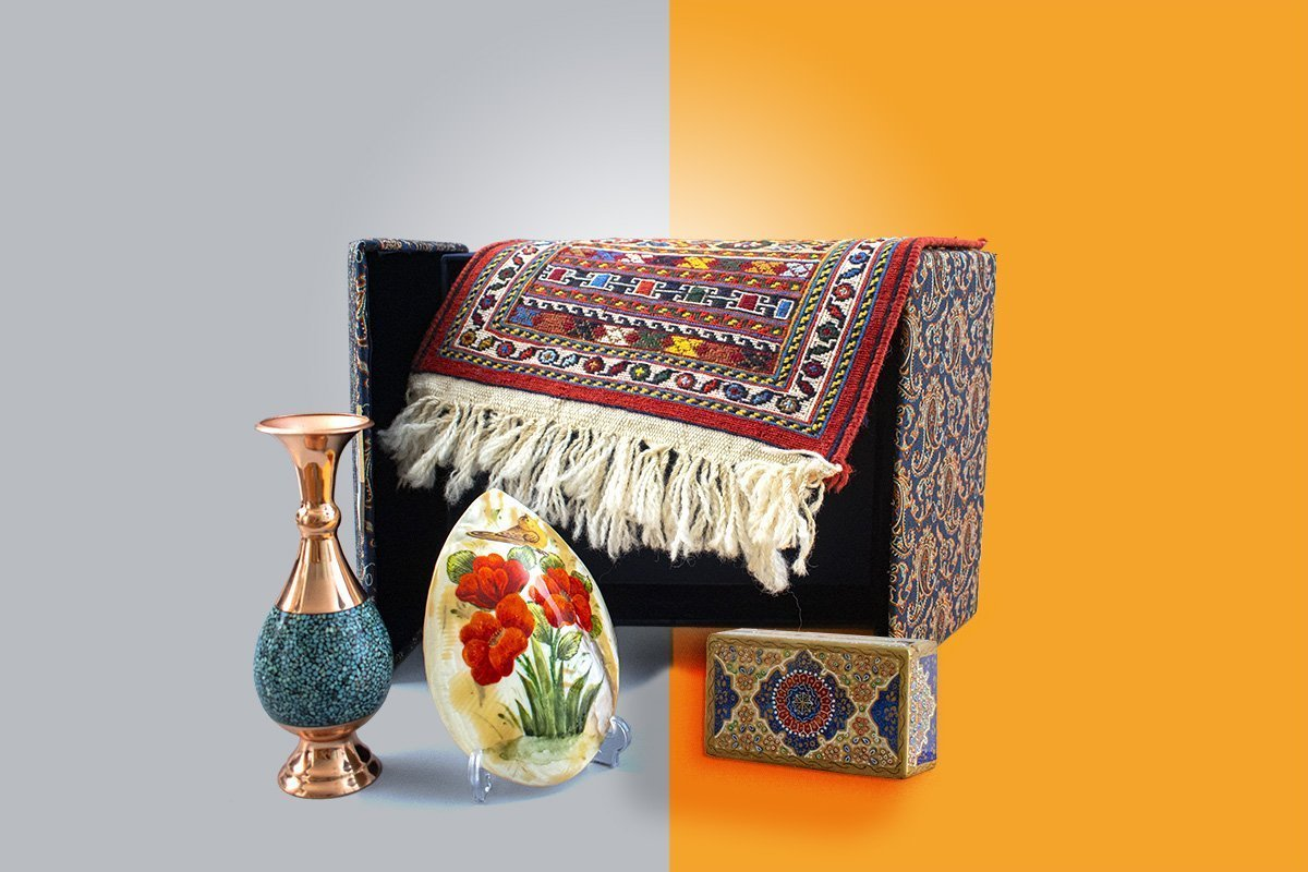 Craftestan Gift Box Consists Of Four Precious Persian Handicrafts. A Turquoise Table Vase, A Natural Seashell Which Is Watercolour Painted , A Marble Jewellery Box And A Miniature Persian Kilim
