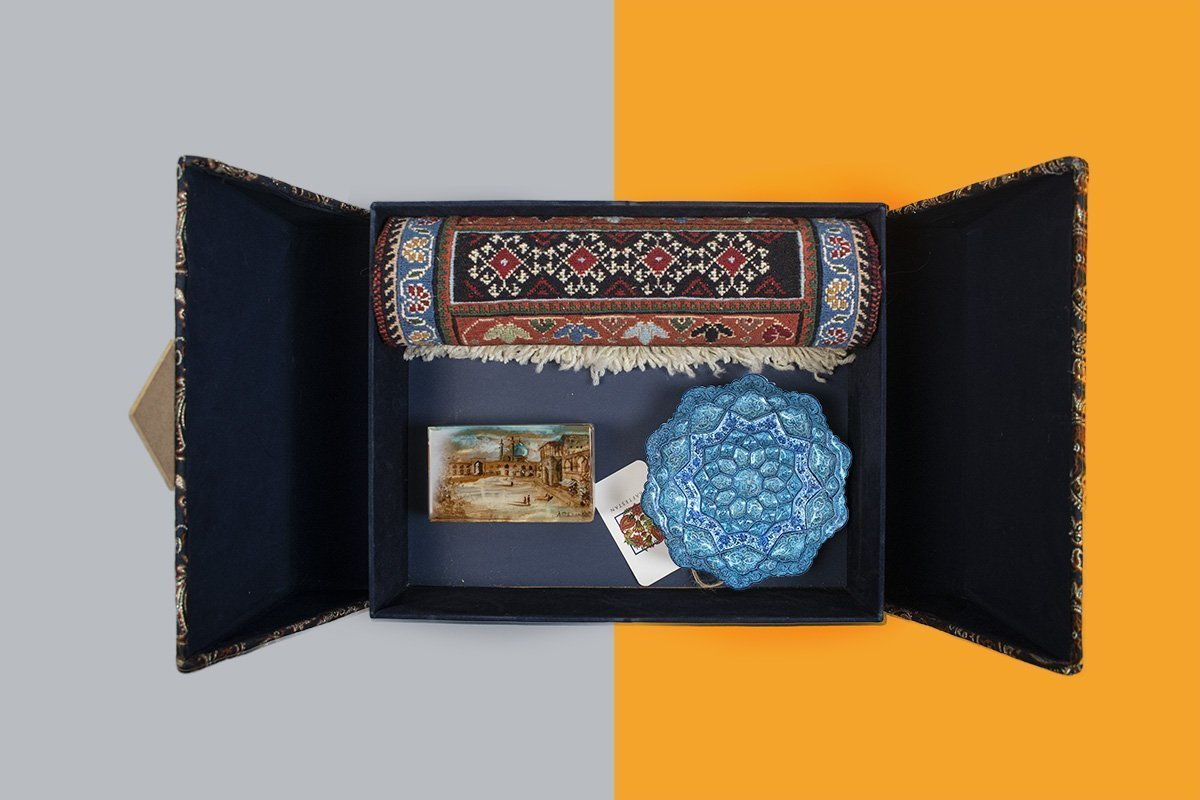 Craftestan Gift Box Consists Of Three Persian Handicrafts. A Marble Jewellery Box Which Is Masterfully Gilded. An Enamel Decorative Plate With The Iconic Persian Pattern. A Miniature Persian Kilim With Geometric Pattern