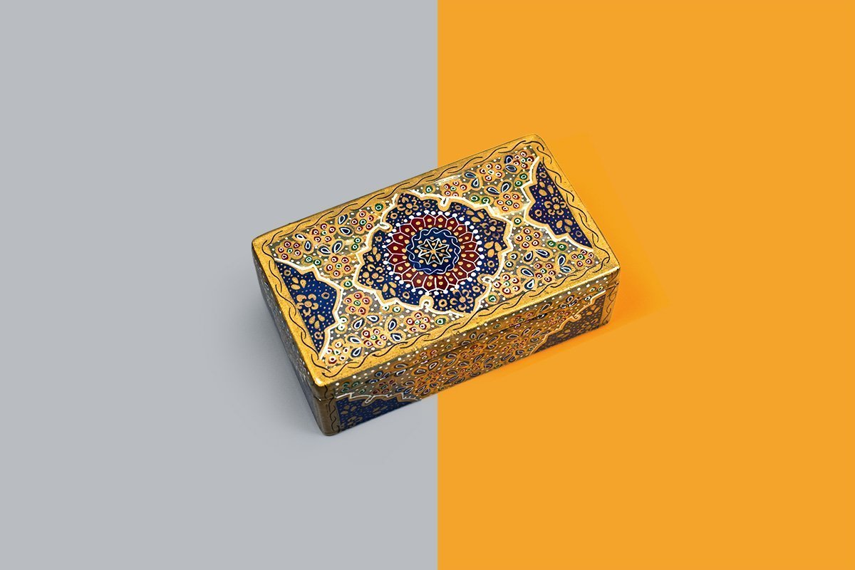 Marble Jewellery Box Is Masterfully Decorative With Persian Gilding. The Pattern Features The Iconic Arabesque Pattern.