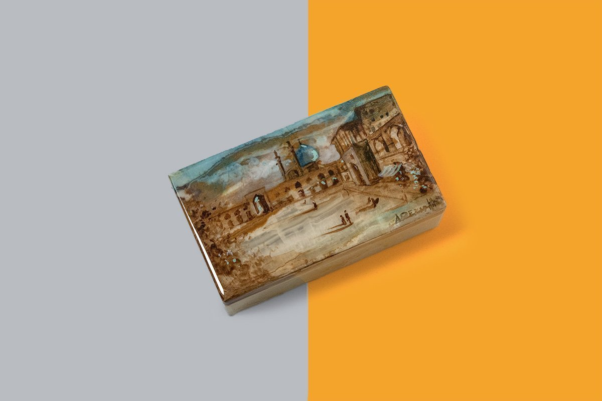 Marble Jewellery Box Is Masterfully Decorative With Persian Gilding. The Design Features One Of The Most Iconic Tourists Attraction In Isfahan City.