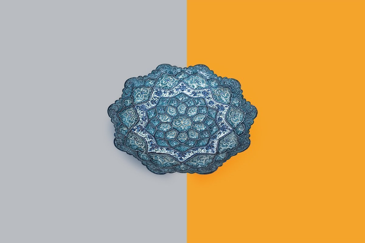 Persian Enamel (Minakari) Decorative Plate Is Made Of Copper And Has 16cm Diameter. The Rich And Embossed Texture Of The Artwork Is Watercolour Painted. The Azure Pattern Features Rhythmic Foliate Scrolls