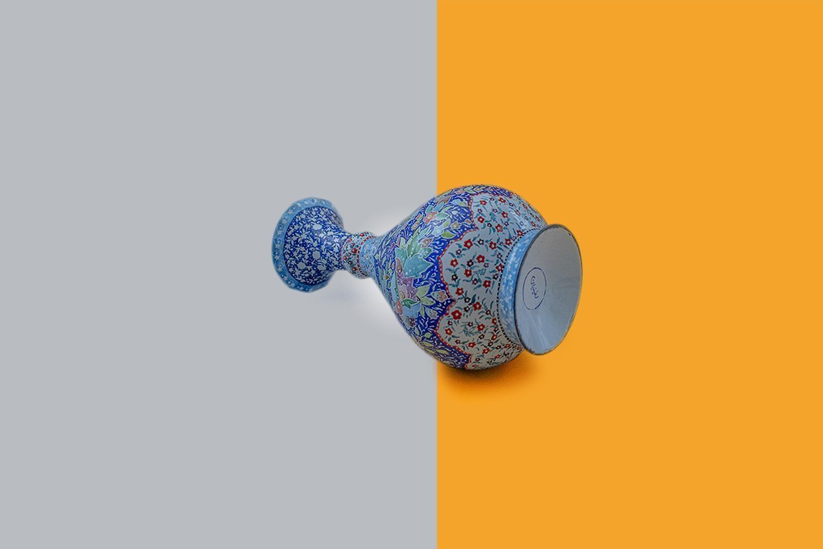 Persian Enamel (Minakari) Decorative Table Vase Is Made Of Copper And Has 23cm Height. The Vase Is Painted With The Iconic Persian Floral Pattern