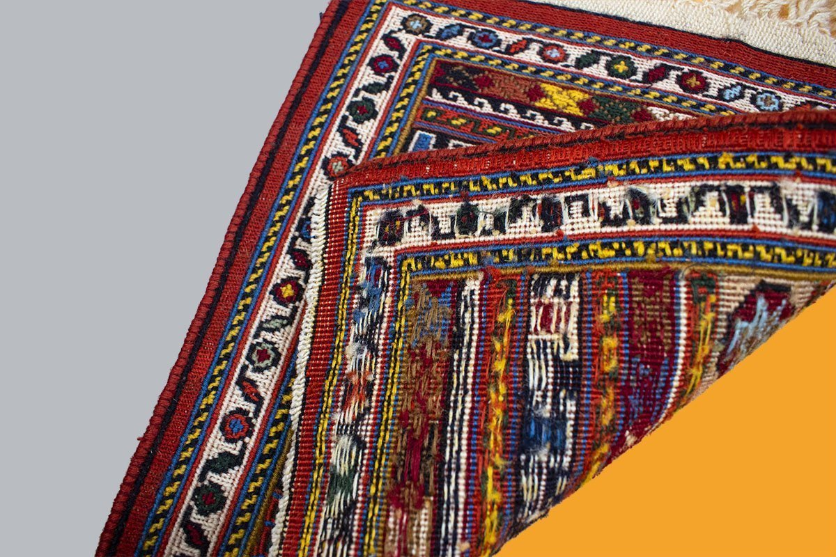 Miniature Persian Kilim Is Completely Made By Hand. The Pattern Features The Iconic Persian Geometric Pattern,