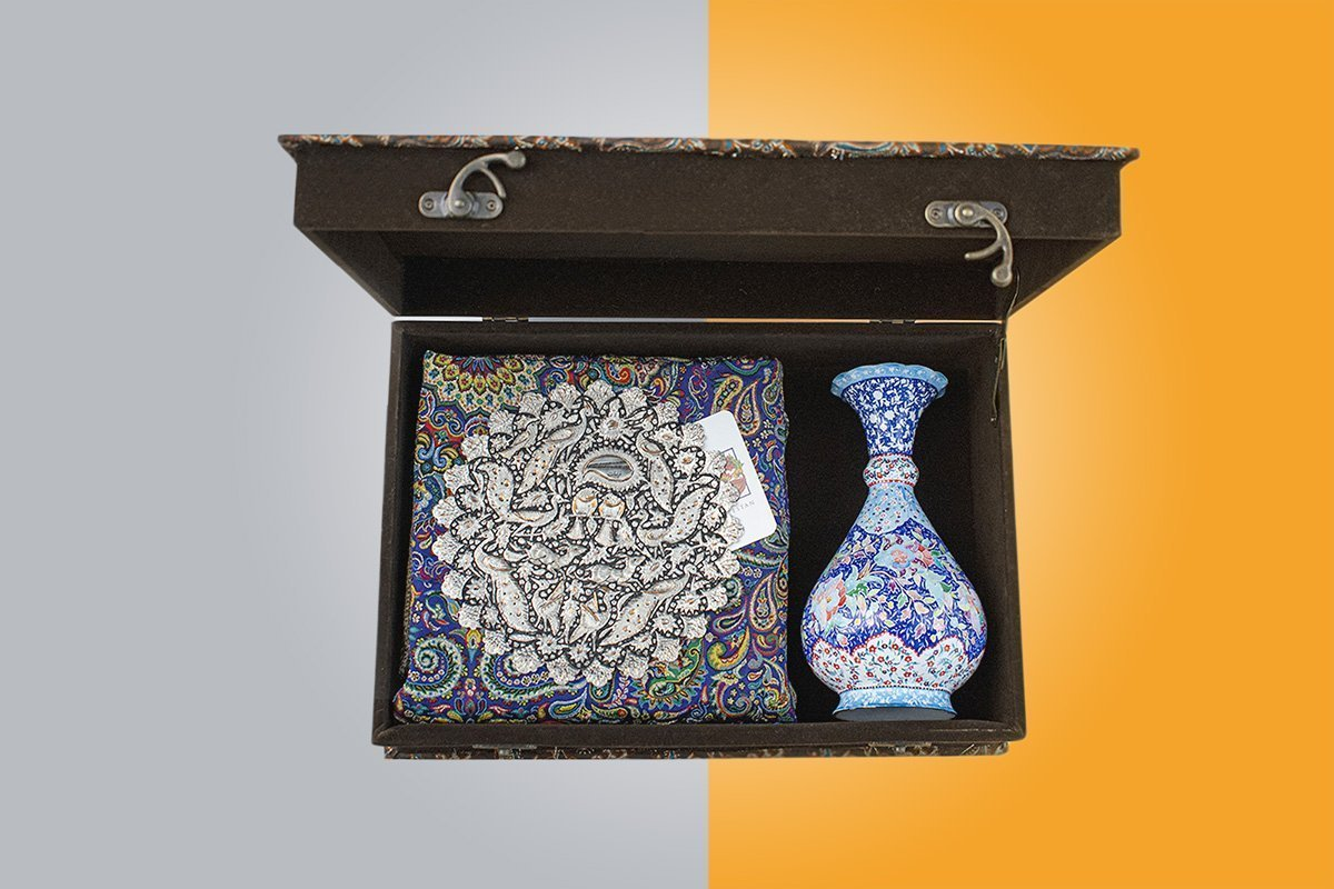 Set Of Craftestan's Persian Handcrafts Including An Enamel Table Vase, A Toreutics Copper Decorative Plate And A Cultural Persian Textile Known As Termeh
