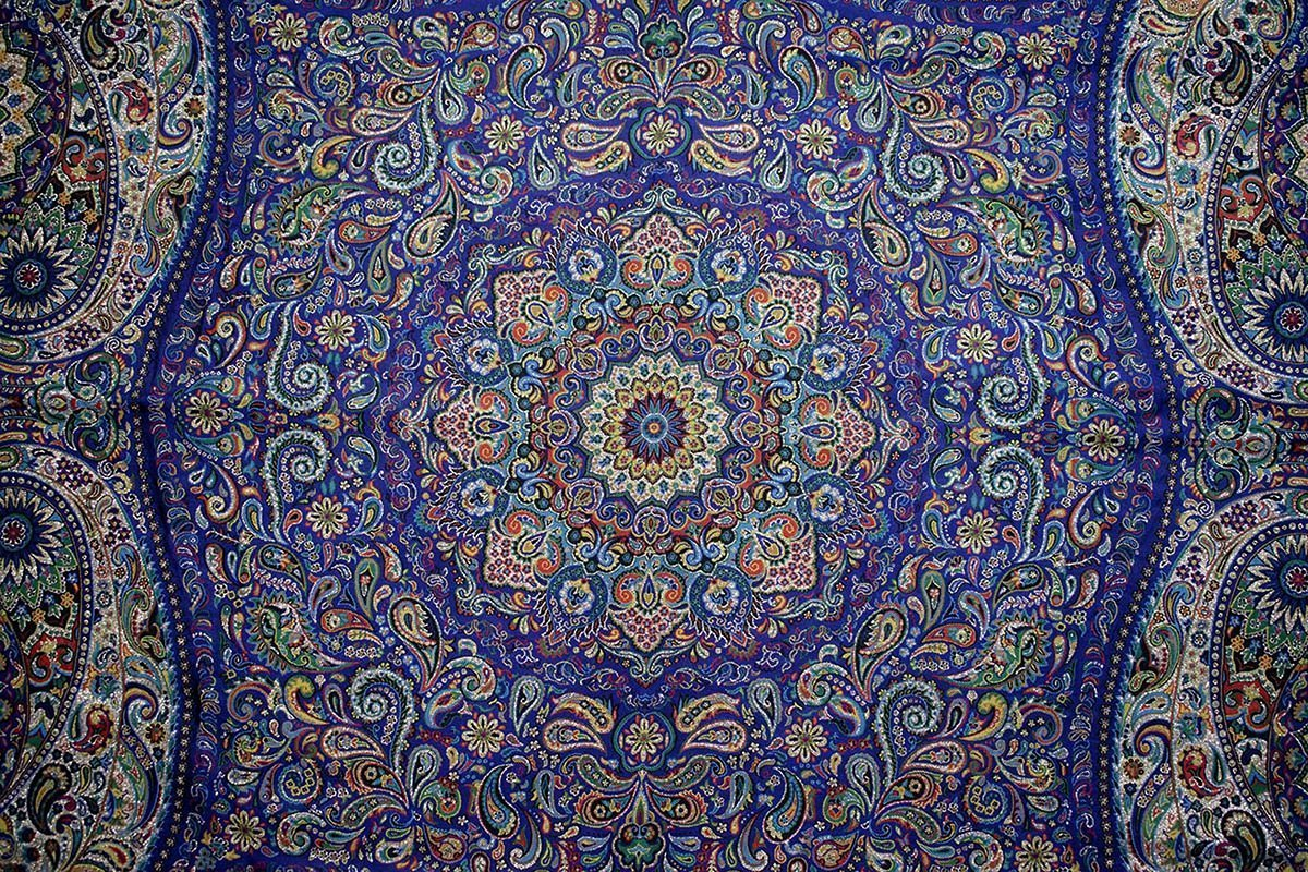 The Cultural Persian Textile Known As Termeh Is Made Of Viscose And Thread. The Textile Is Square. The Size Is 100cm * 100cm. The Textile Is Adorned With The Iconic Persian Ornamental Design Which Includes Floral / Foliate Motifs With Rhythmic Linear Pattern And Scrolling