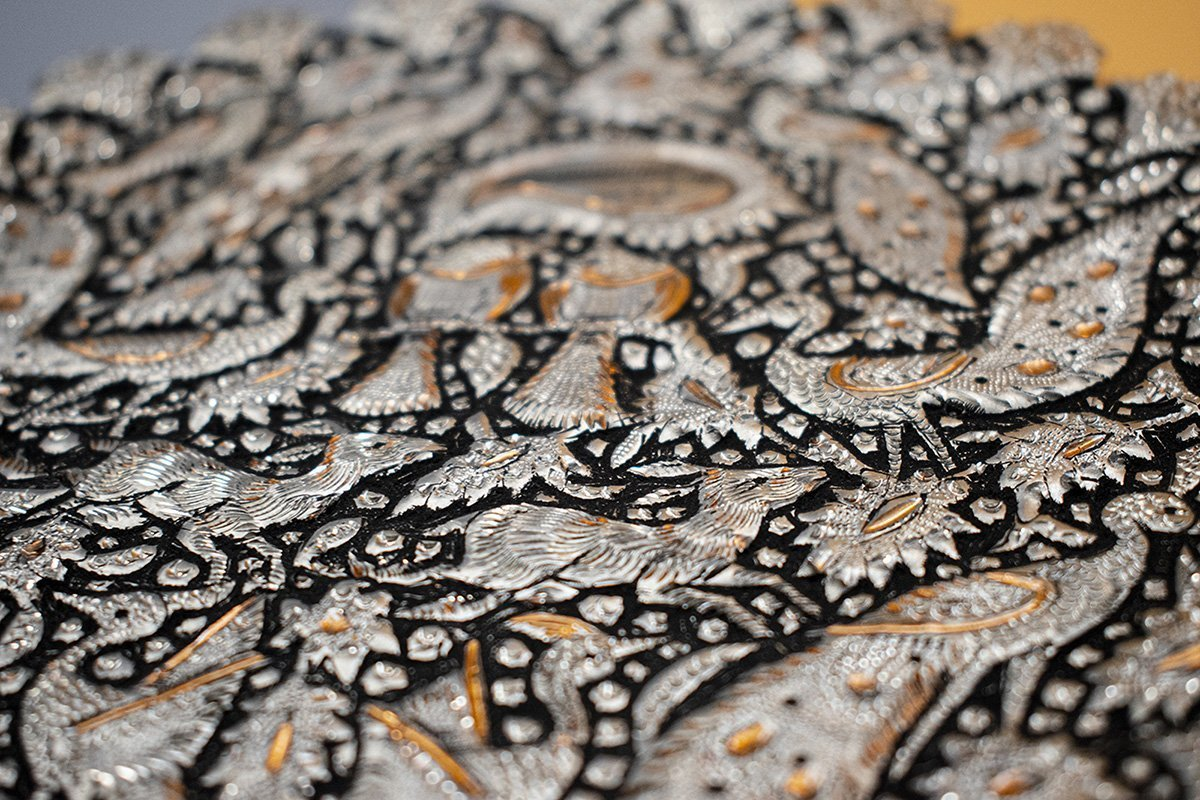 Persian Toreutics Wall Decor Is Made Of Copper. The Pattern Features Iconic Persian Garden. The Plate Without The Frame Has 15cm Width