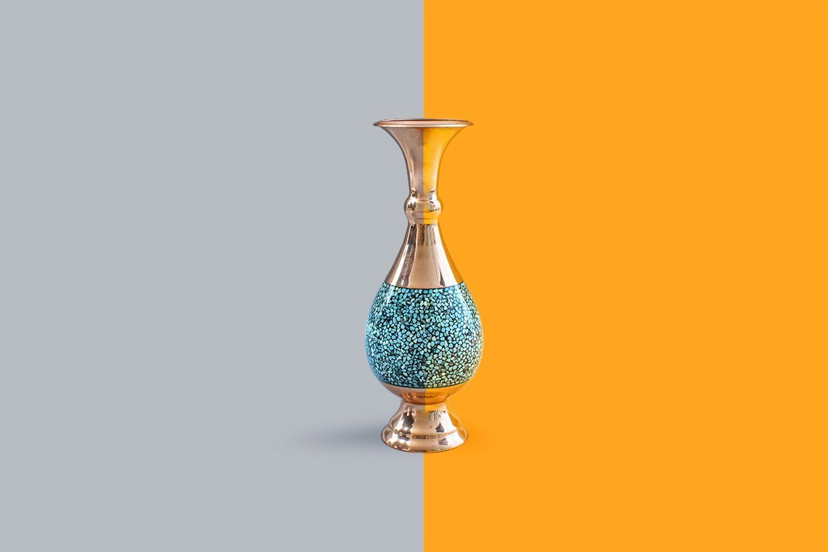 Persian Decorative Turquoise Table Vase. The Height Of The Vase Is 20cm And The Combination Of The Azure Colour Of The Turquoise And The Gold Colour Of The Copper Is Eye-Catching.