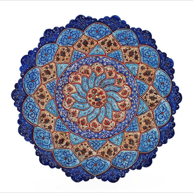 Persian Enamel Decorative Plate 30cm Made Of Copper And Has Embossed Texture. The Floral/Foliate Motifs Are Hand-Painted