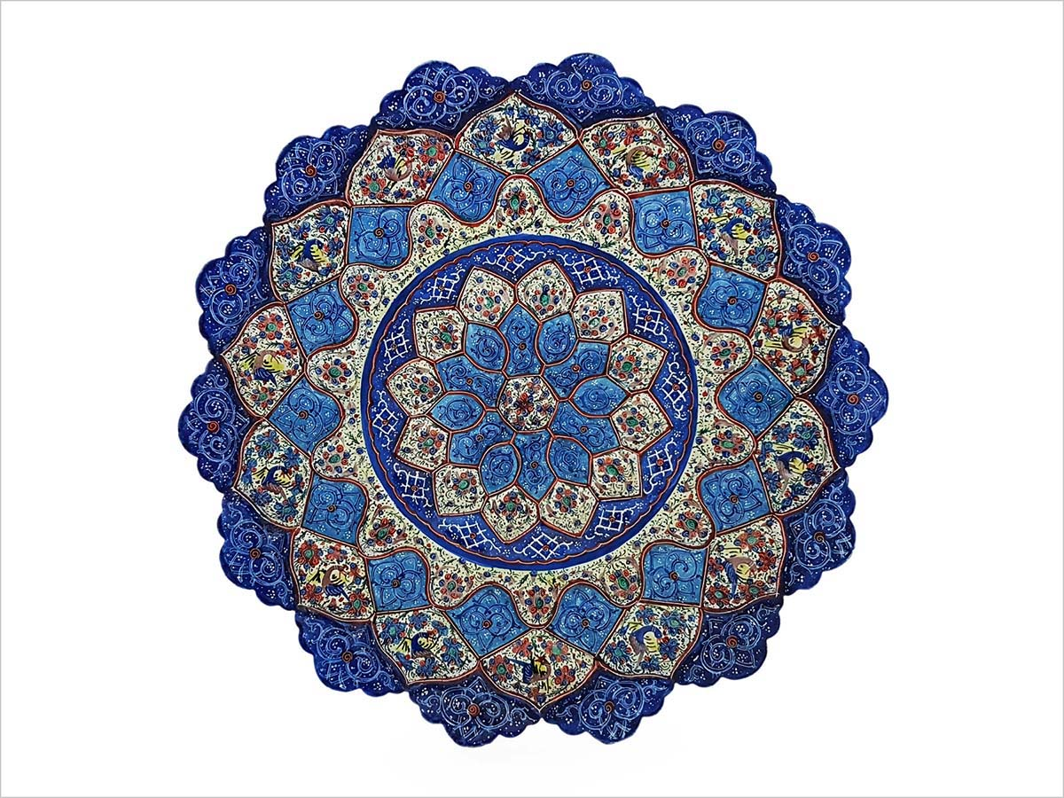 Persian Enamel Decorative Plate 30cm Is Made Of Copper And Has An Embossed Texture. The Iconic Persian Pattern With Its Stylised Hummingbirds And Cherry Blossom Is Hand-Painted