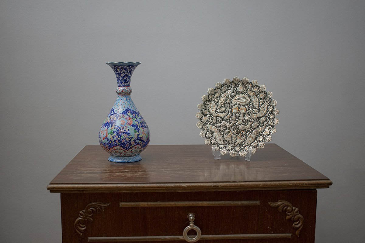 Persian Enamel Table Vase And Toreutics Decorative Plate. Both Are Made Of Copper And Have The Iconic Floral Persian Motifs.