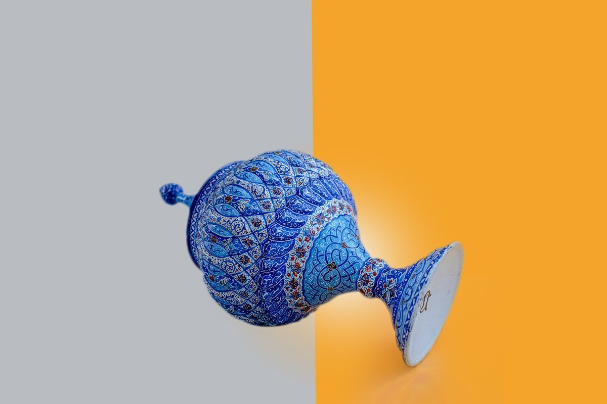 Persian Enamel Candy Jar With Its 28cm Height. The Rich & Embossed Texture Of The Item Is Masterfully Hand-Painted With Rhythmic Stylised Floral/Foliate Motifs.