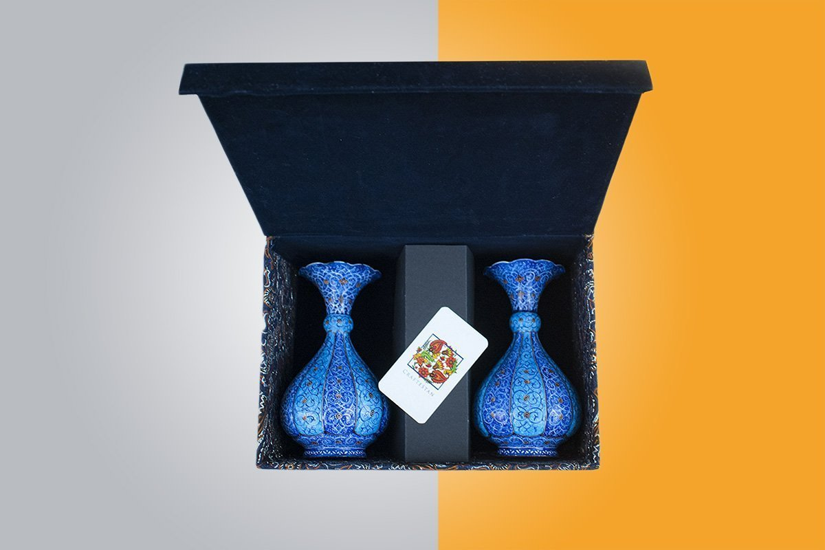 A Pair Of Vintage Persian Enamel Vase Are Made Of Copper. The Rich & Embossed Texture Of The Vases Are Adorned With Floral Pattern