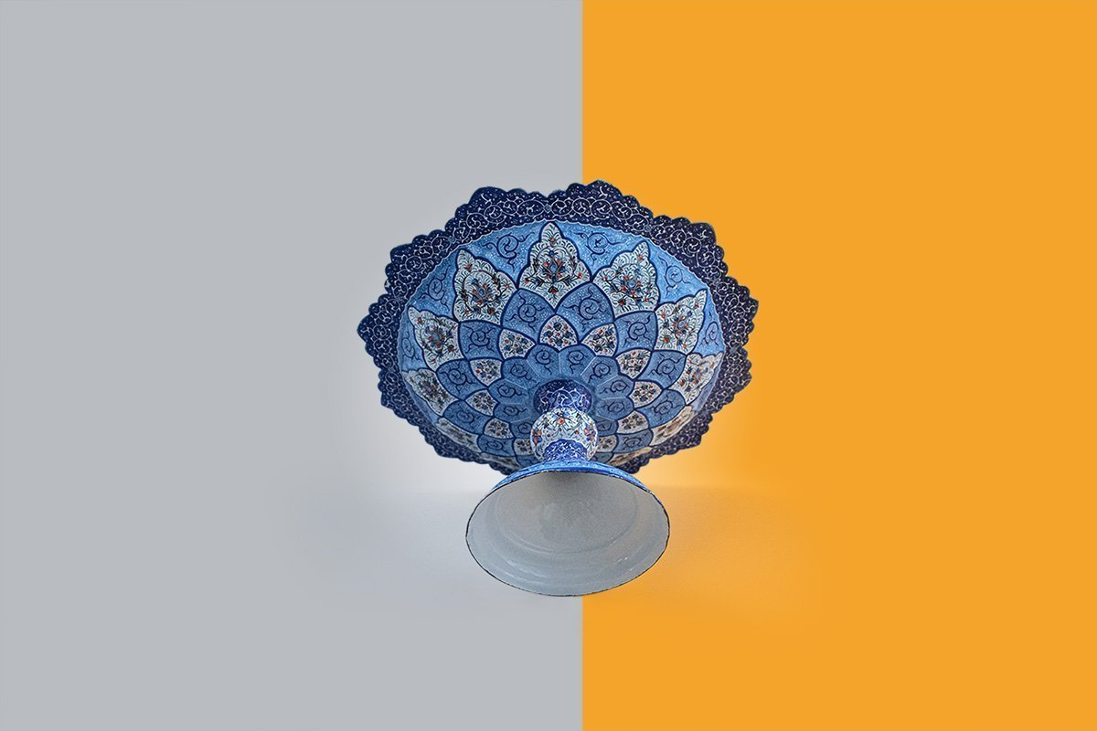 Vintage Persian Enamel (Minakari) Decorative Stem Dish Is Made Of Copper And Has 14cm Height & 25cm Diameter. The Rich & Embossed Texture Of The Artwork Is Adorned With Persian Floral Pattern