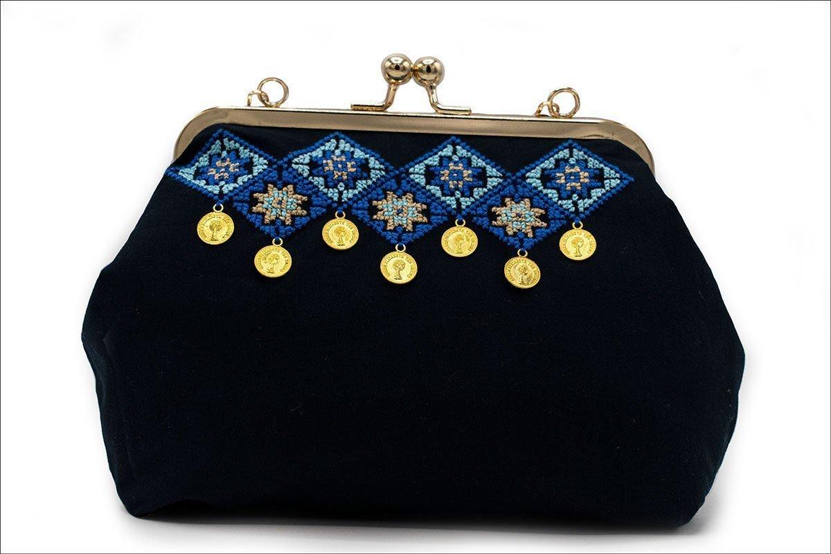 Persian Balochi Embroidery Coin Work Women Handbag Geometric Blue Navy Diamond Pattern With Golden Metal Chain And Hinge