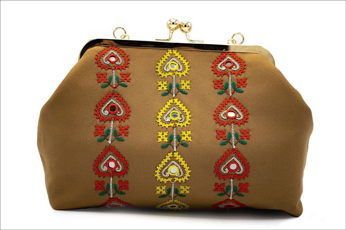 Persian Balochi Embroidery Mirror Work Brown Women Handbag Floral Pattern With Golden Chain And Hinge