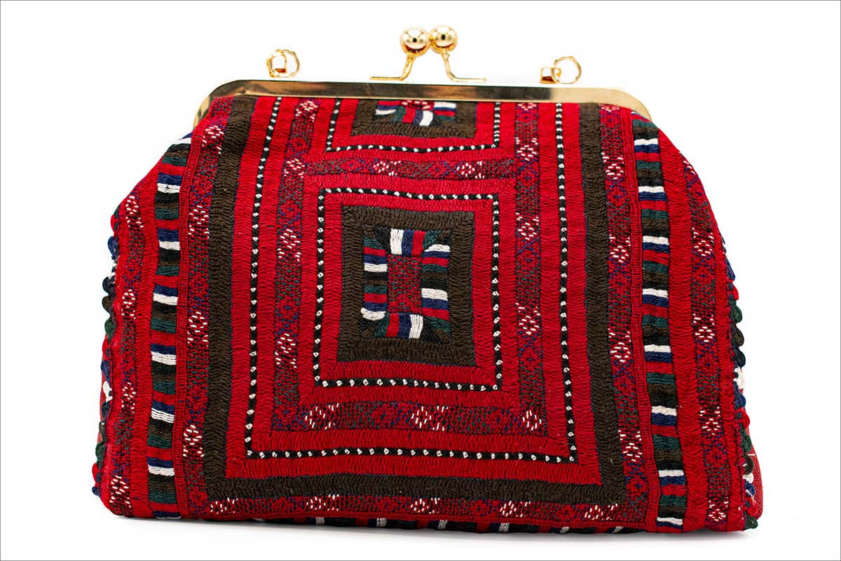 Persian Balochi Embroidery Women Handbag Red Kilim Pattern With Golden Metal Chain And Hinge