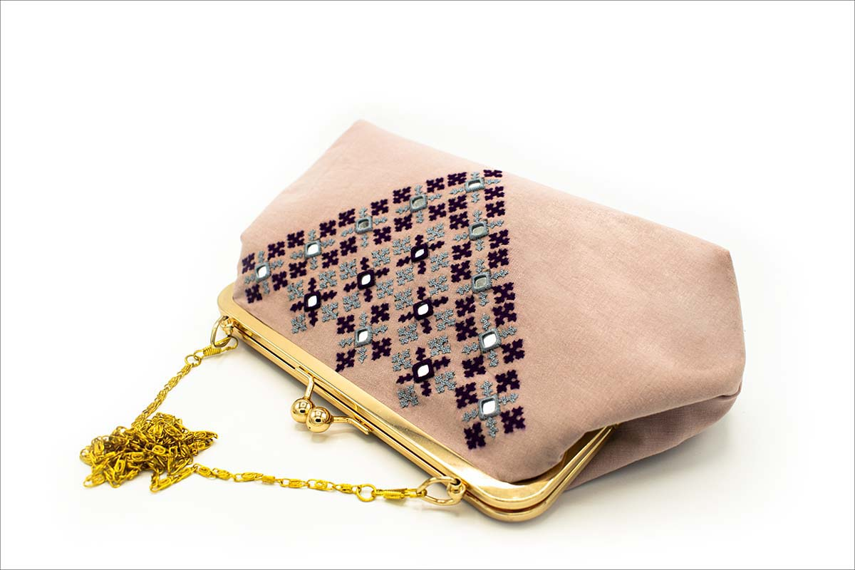 Persian Balochi Embroidery Mirror Work Pink Women Handbag With Golden Metal Chain And Hinge