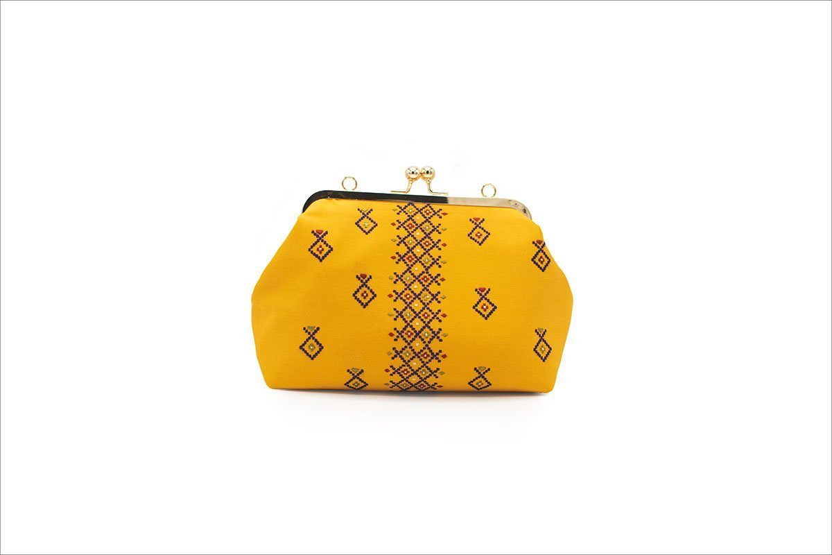 Persian Balochi Embroidery Yellow Women Handbag With Golden Metal Hinge And Chain