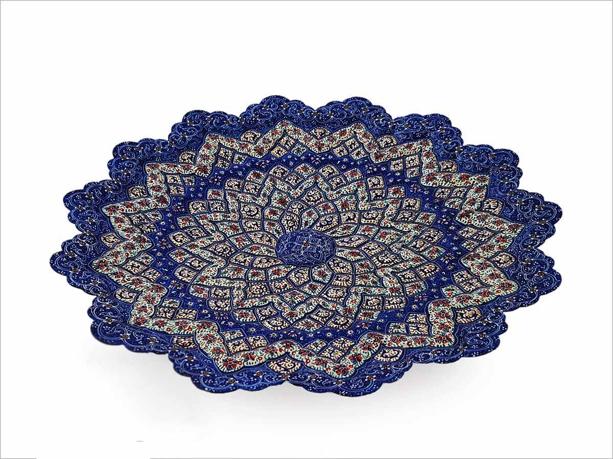 Persian Enamel Decorative Plate 30cm Made Of Copper With An Embossed Texture And Floral/Foliate Pattern