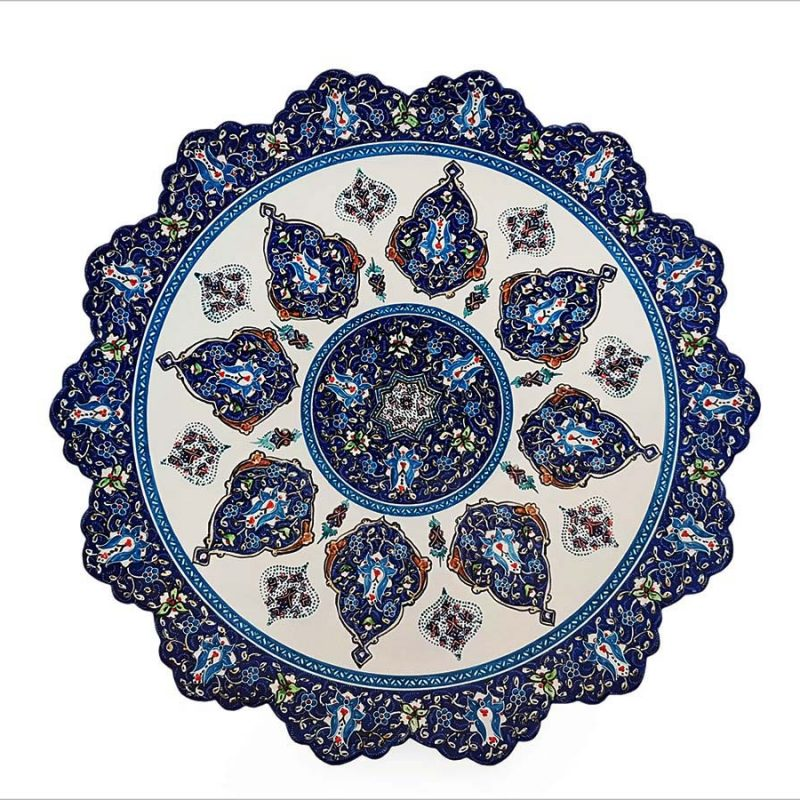 Persian Enamel Decorative Plate Made Of Copper With 30cm Width And Iconic Hand-Painted Persian Pattern