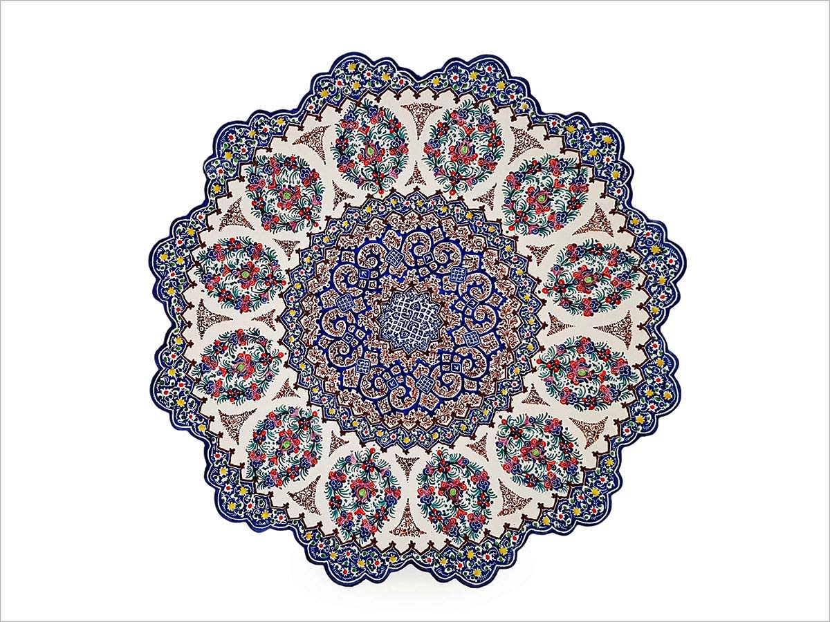 Persian Enamel Decorative Plate Made Of Copper With 25 cm Width And Iconic Hand-Painted Persian Pattern