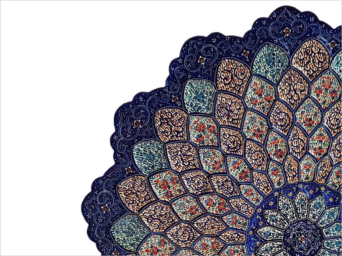 Persian Enamel Decorative Plate Made Of Copper With 30cm With And Fish Scale Texture And Stylized Floral Motifs