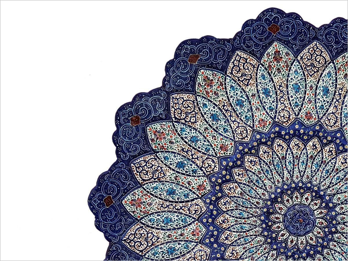 Persian Enamel Decorative Plate 30cm Is Made Of Copper. It Has Embossed Texture And Geometric Sun Pattern Which Is Skillfully Hand-Painted