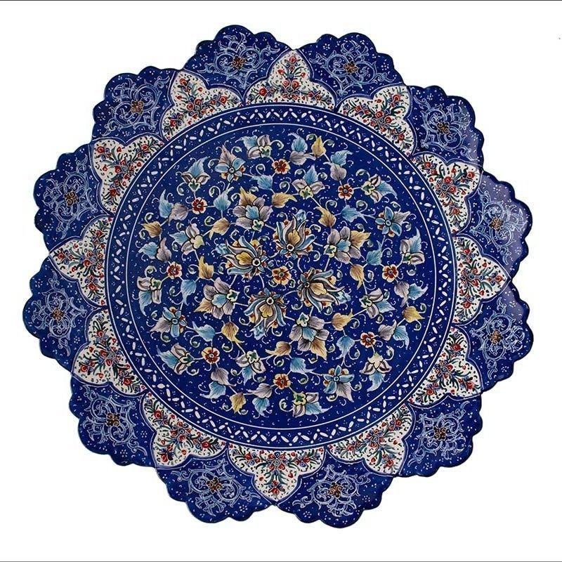 Persian Enamel Decorative Plate 30cm Is Made Of Copper And The Hand-Painted Design Features Persian Garden