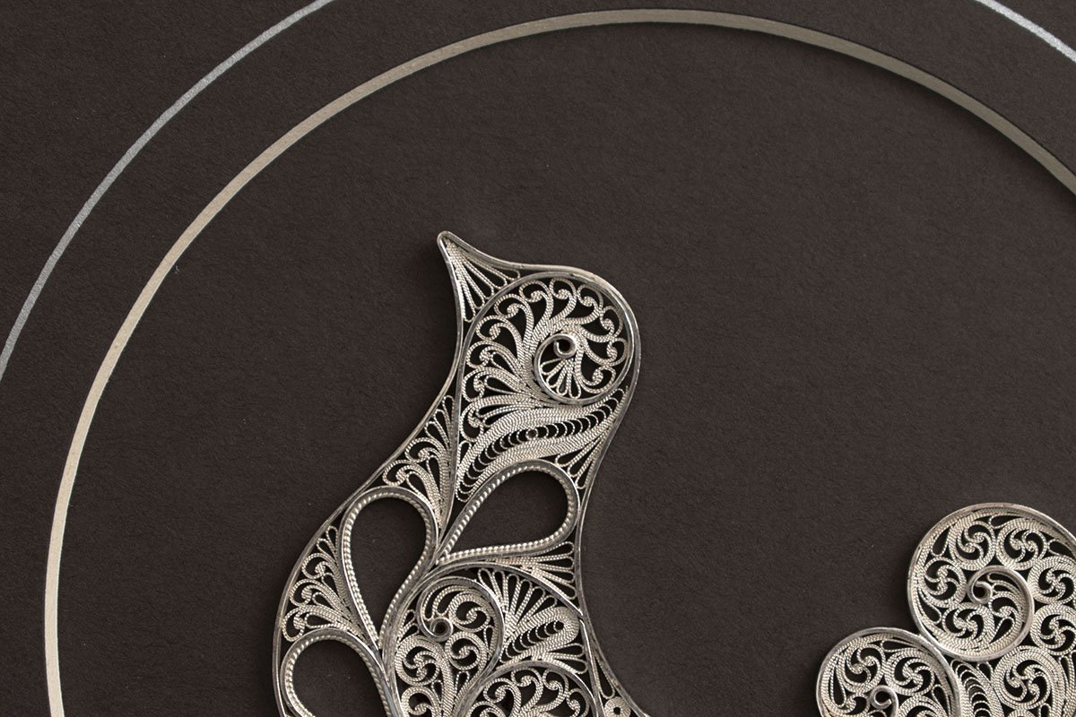 Persian Filigree Nightingale Pattern Sterling Silver With Frame It Can Be Use As Wall Decor