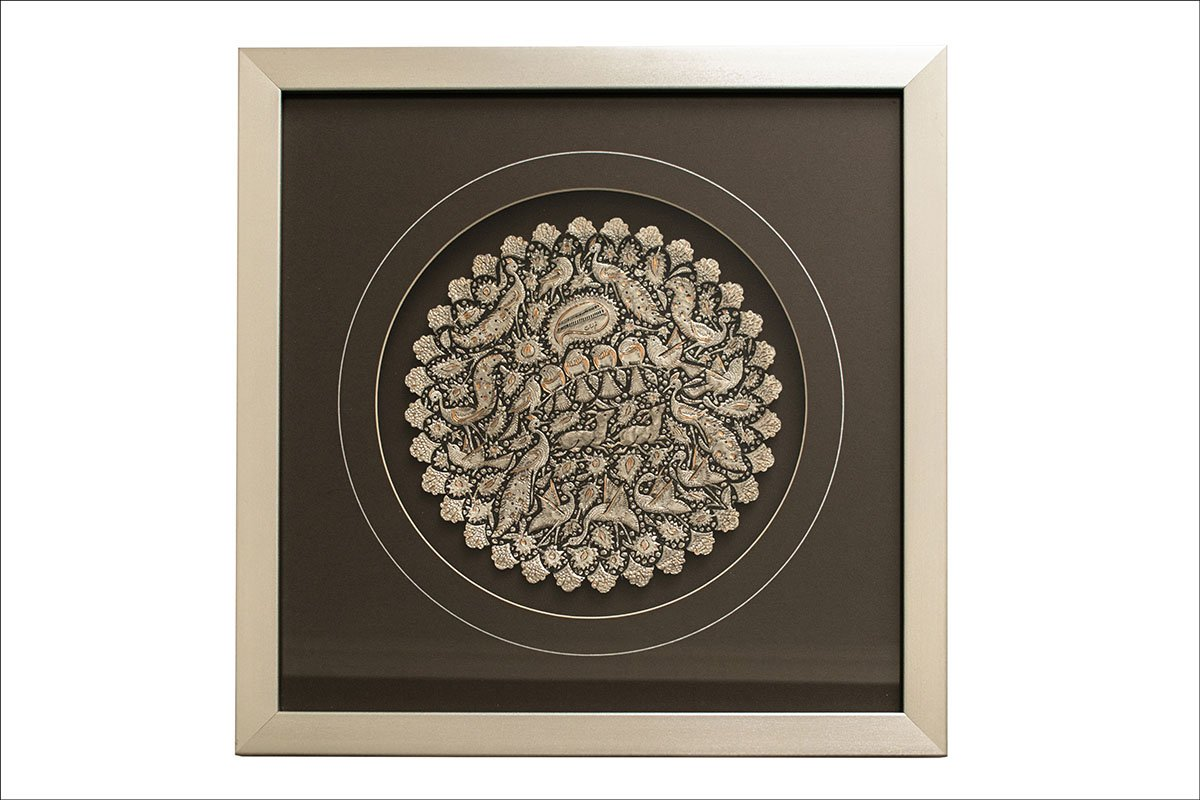 Persian Toreutics Wall Decor Is Made Of Copper. The Pattern Features Iconic Persian Garden. The Plate Without The Frame Has 25cm Width And With Frame Has 47cm Width