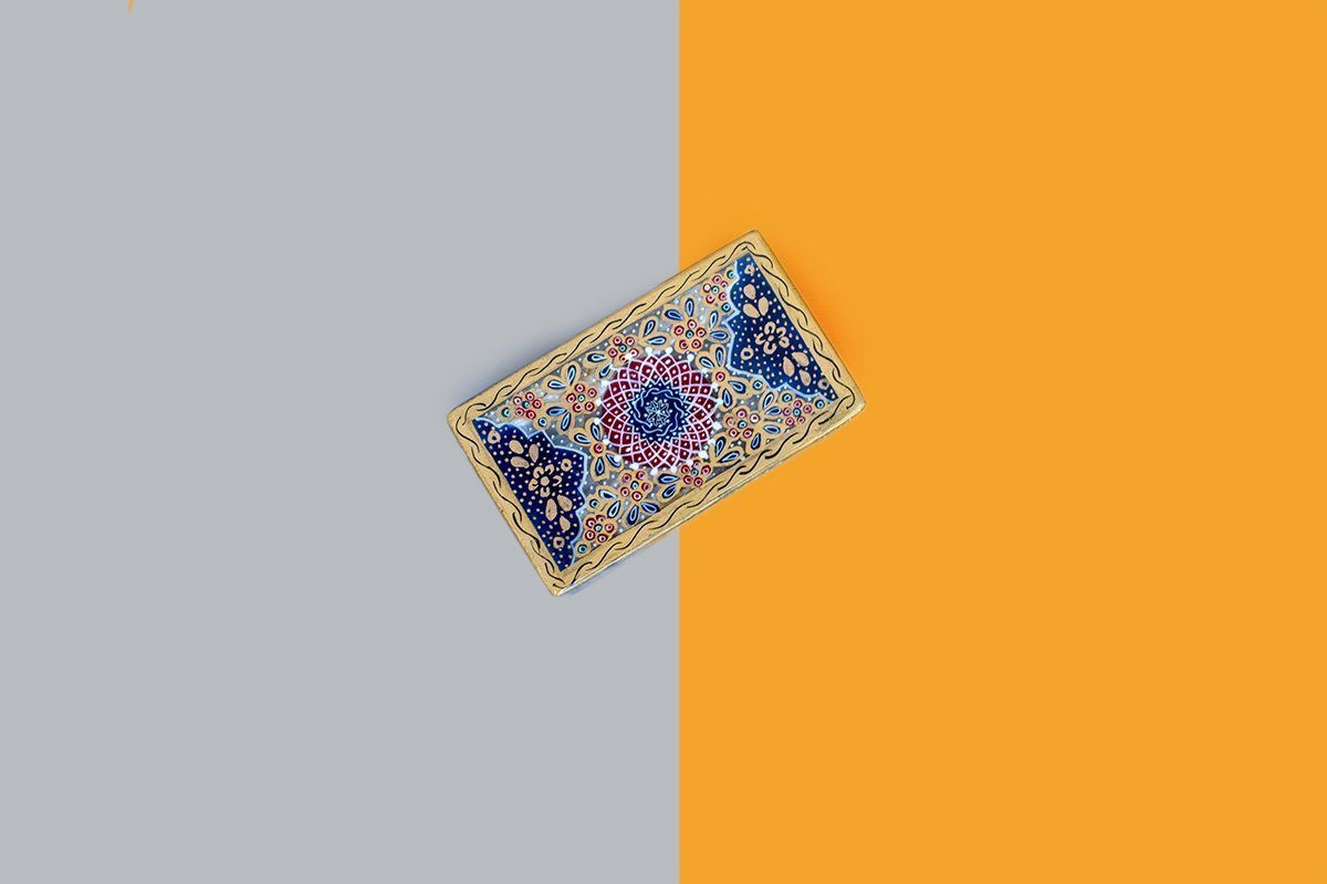 The Marble Jewellery Box. The Jewellery Box Is Gilded And The Pattern Features The Iconic Arabesques Motifs.