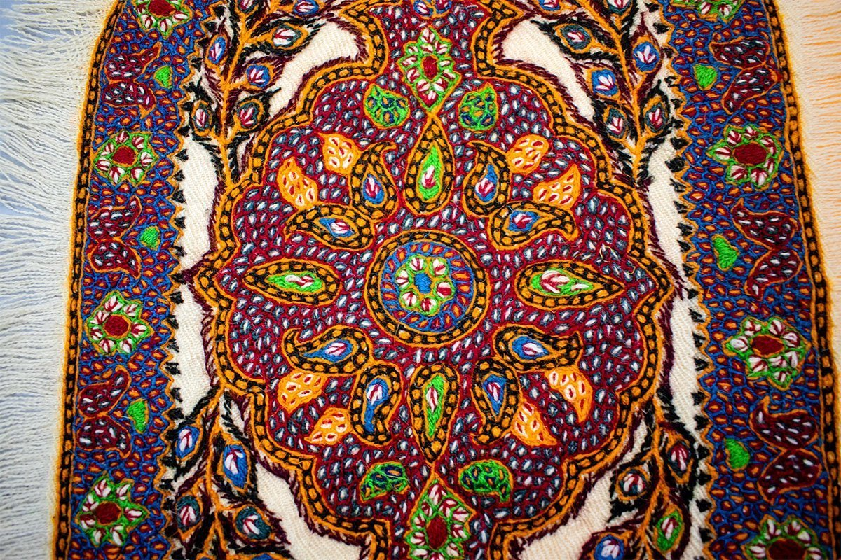 The Cultural Persian Tapestry, Known As Pateh Is Embroidered Completely. The Tapestry Is Made Of Wool And Has 45cm Length And 35cm Width. The Pattern Features The Iconic Persian Paisley